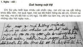 Bài nghe đọc và viết lại của em N.V.A. (học sinh lớp 3 tại quận 8)