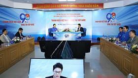 Cuộc đối thoại trực tuyến giữa Bí thư Thứ nhất Trung ương Đoàn Nguyễn Anh Tuấn với đoàn viên, thanh niên, thiếu nhi trong và ngoài nước chiều 16-3-2021. Ảnh: nhandan