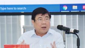 Chủ tịch UBND TPHCM Nguyễn Thành Phong phát biểu tại buổi làm việc. Ảnh: hcmcpv