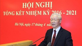 Tổng Bí thư Nguyễn Phú Trọng đến dự và phát biểu chỉ đạo hội nghị. Ảnh: TTXVN