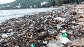 Thu gom hàng chục tấn rác thải dạt vào bờ biển Vũng Tàu