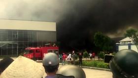 Hiện trường vụ hỏa hoạn tại Công ty CP May Nhà Bè Sóc Trăng