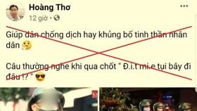 Một bài viết thông tin sai sự thật, xuyên tạc trên Facebook cá nhân của Võ Hoàng Thơ