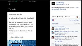 Quảng cáo đi miễn phí dịch vụ Uber tại Đà Nẵng trên mạng xã hội facebook