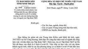 Sở Công thương Ninh Thuận bị kiểm điểm vì lơ là chống dịch