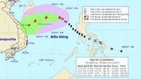 96 tàu đang trong khu vực nguy hiểm của bão số 13
