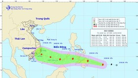 Vị trí và đường đi của cơn bão Sanba. Ảnh: TT DBKTTVTƯ