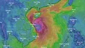 Dự báo bão số 9 cập bờ vào khoảng 10 giờ sáng nay 28-10-2020.Ảnh: Windy