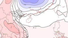 Họa đồ các sóng không khí lạnh đang lan dần xuống nước ta do Trung tâm DBKTTV quốc gia thực hiện chiều 25-2
