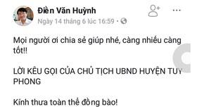 Chủ tịch huyện Tuy Phong đăng facebook kêu gọi người dân không tiếp tay cho kẻ xấu