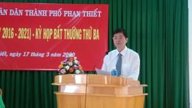 Ông Nguyễn Hồng Hải, tân Chủ tịch UBND TP Phan Thiết phát biểu sau khi nhậm chức.