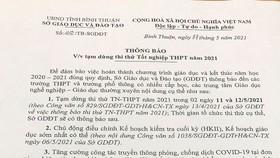 Bình Thuận tạm dừng thi thử tốt nghiệp THPT.