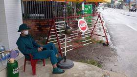 Chốt phong tỏa tại khu phố 4, thị trấn Phước Dân, huyện Ninh Phước, tỉnh Ninh Thuận