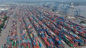 Export containers at a seaport in HCMC (Photo: SGGP)