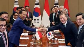 RoK President Moon Jae-in (right) and his Indonesian counterpart Joko Widodo (Source: Yonhap)