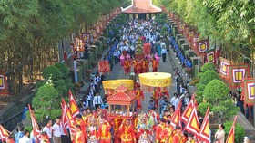 A view of the ceremony hosted to commemorate Hung Kings in HCMC's District 9 on April  14 (Photo: SGGP)