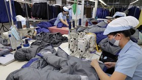Workers produce apparel for export at the factory of the Duc Giang garment company in Long Bien district, Hanoi (Photo: VNA)