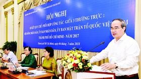Bí thư Thành ủy TPHCM Nguyễn Thiện Nhân phát biểu  tại Hội nghị Sơ kết quy chế phối hợp. Ảnh: VIỆT DŨNG