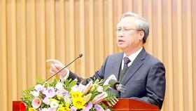 Thường trực Ban Bí thư Trần Quốc Vượng phát biểu chỉ đạo hội nghị. Ảnh: TTXVN