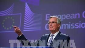 Trưởng đoàn đàm phán của EU về Brexit, ông Michel Barnier phát biểu tại cuộc họp báo ở Brussels, Bỉ . Ảnh: THX/TTXVN