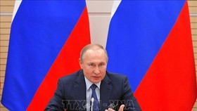 Tổng thống Nga Vladimir Putin phát biểu tại một cuộc họp ở Moskva. Ảnh: AFP/TTXVN