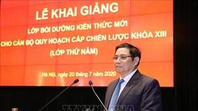 Đồng chí Phạm Minh Chính, Ủy viên Bộ Chính trị, Bí thư Trung ương Đảng, Trưởng Ban Tổ chức Trung ương phát biểu. Ảnh: TTXVN