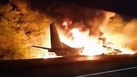 Máy bay quân sự rơi tại Ukraine. Nguồn: AP