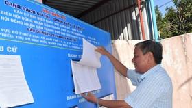 Điểm niêm yết danh sách cử tri tại trụ sở  Ban điều hành khu phố 4, phường  Tam Bình, TP Thủ Đức, TPHCM. Ảnh:  ĐÌNH LÝ