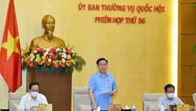 Chủ tịch Quốc hội Vương Đình Huệ phát biểu tại phiên họp. Ảnh:  QUANG PHÚC