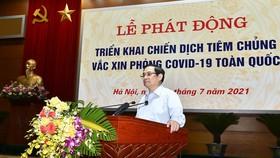 Thủ tướng Phạm Minh Chính phát động triển khai Chiến dịch tiêm chủng vaccine phòng chống Covid-19 trên toàn quốc. Ảnh: VGP