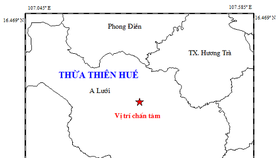 Vị trí tâm chấn động đất khuya 17-11 tại A Lưới