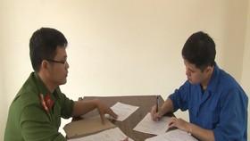Bị can Lê Quang Huy Phương tại cơ quan Công an 