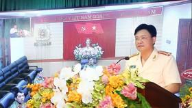 Thượng tá Nguyễn Thanh Tuấn, Tân Giám đốc Công an tỉnh Thừa Thiên - Huế phát biểu tại lễ nhận Quyết định 