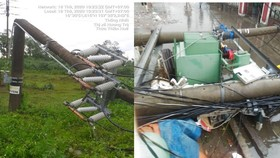 Cột điện và trạm biến áp tại Thừa Thiên - Huế bị gió bão số 5 đánh gãy 