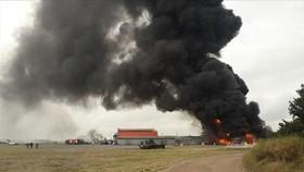 Hiện trường vụ cháy nhà kính trồng rau ở quận Ramenskoye, Matxcova. Ảnh: TTXVN