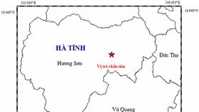 Bản đồ vị trí chấn tâm động đất. Ảnh: Viện vật lý Địa cầu
