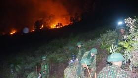 Các lực lượng chức năng tham gia dập lửa