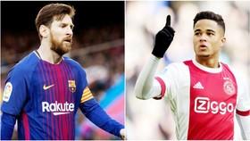 Messi (trái) sẽ giúp Barca đánh bại Man.United để có được Justin Kluivert. Ảnh: Marca.