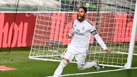 Sergio Ramos một lần nữa là người hùng trong chiến thắng nhọc nhằn trước Getafe. Ảnh: Getty Images