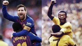Pele đã chúc mừng Lionel Messi sau khi anh cân bằng kỉ lục ghi bàn của ông.