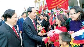 Chủ tịch nước Trần Đại Quang và phu nhân với cán bộ Đại sứ quán và đại diện cộng đồng người Việt tại lễ đón chính thức ở sân bay Vnukovo-2