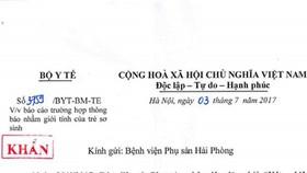 Văn bản của Bộ Y tế yêu cầu Bệnh viện Phụ sản Hải Phòng báo cáo trường hợp nhầm giới tính trẻ sơ sinh