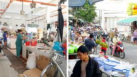 Hình ảnh đìu hiu trong chợ Văn Thánh (ảnh trái) đối lập với cảnh mua bán sầm uất ở chợ tự phát trong hẻm (ảnh phải)