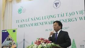 Tiến sĩ Nghiêm Vũ Khải - Phó Chủ tịch VUSTA phát biểu tại lễ khai mạc Tuần lễ Năng lượng tái tạo Việt Nam 2017