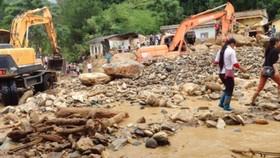 Trận lũ quét, lũ ống đêm 2-8, rạng sáng 3-8-2017 gây nhiều thiệt hại về người và tài sản ở huyện ở Mù Cang Chải. Ảnh: Nhã Huệ