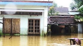Nước lũ lên cao đến 2m, nhấn chìm nhiều nhà dân ở Phú Yên                                                                        .       Ảnh: HOÀI NAM