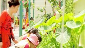 Học sinh Trường Tiểu học Hồ Văn Huê (quận Phú Nhuận) trong một giờ học về môi trường