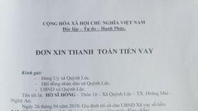 Các giấy vay tiền, khế ước vay tiền của UBND xã Quỳnh Lộc và đơn xin trả nợ của người dân