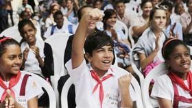 Học sinh tại một trường phổ thông ở thủ đô La Habana. Ảnh: TTXVN