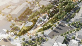 Phối cảnh phương án thiết kế đạt giải nhì nhìn từ Quảng trường Quách Thị Trang